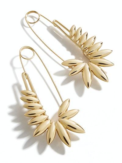 Sunflower Safety Pin Earrings