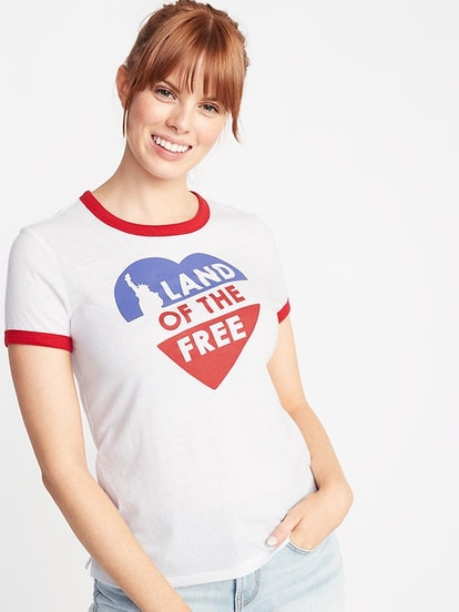 """""""Land of the Free"""" Slim-Fit Graphic Ringer Tee"""