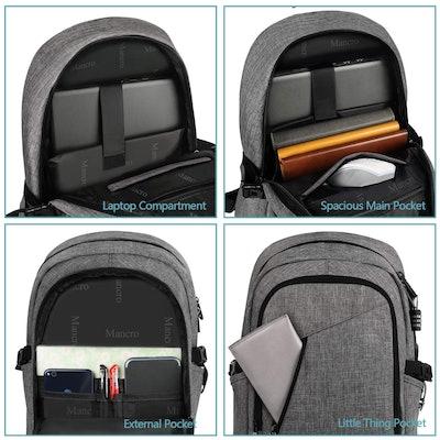 Mancro Anti Theft Travel Computer Bag