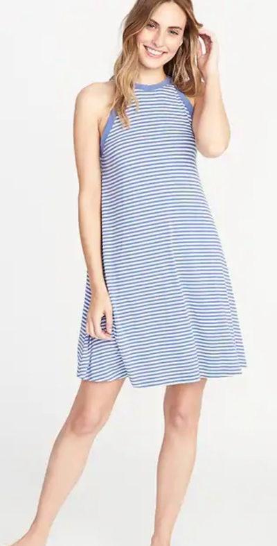 High-Neck Jersey Swing Dress