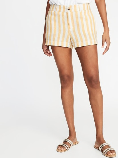 Yellow Stripe Mid-Rise Everyday Linen-Blend Shorts