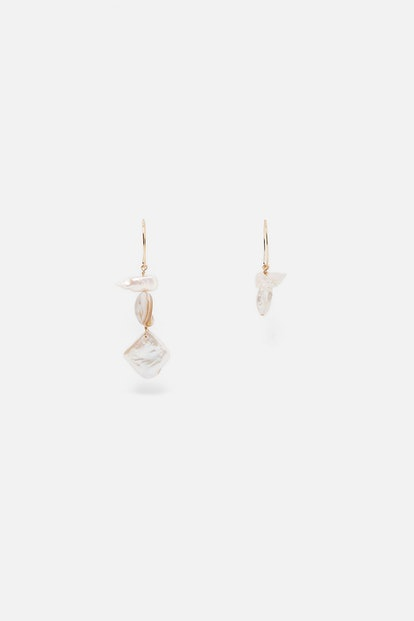 NATURAL PEARL, SHELL AND STONE EARRINGS