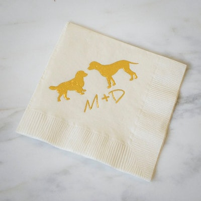 Dog Silhouette Personalized Napkins