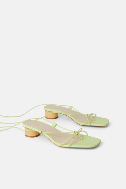 Heeled Leather Sandals With Thin Straps