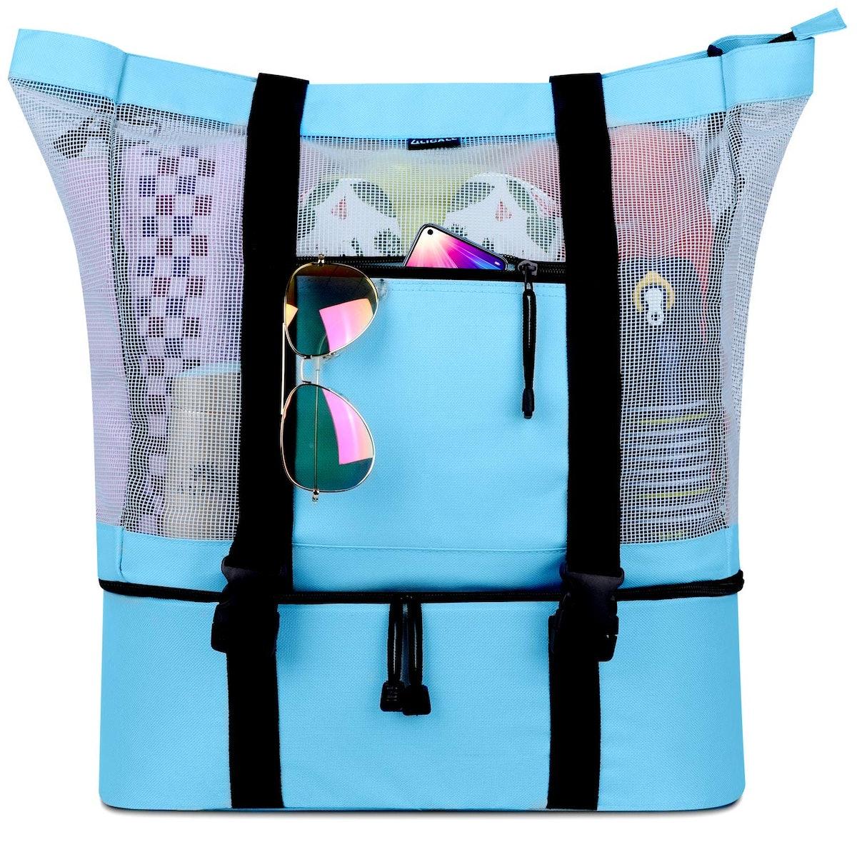 LILICALL Mesh Beach Tote Bag With Detachable Beach Cooler