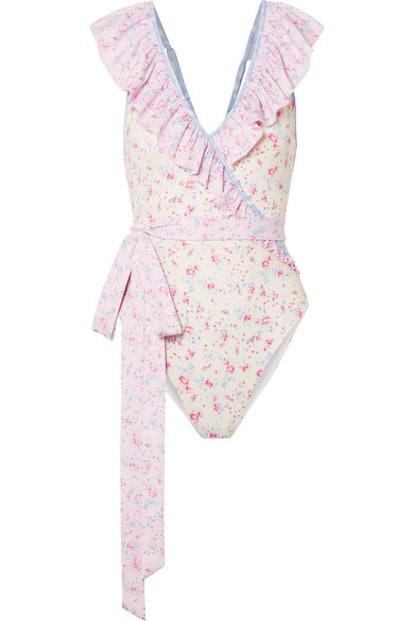 LoveShackFancy Gaga belted ruffled printed swimsuit