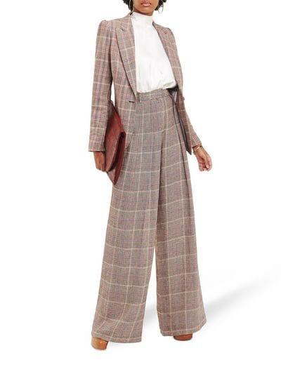 Zendaya Check Linen Blazer & Wide-Leg Trousers