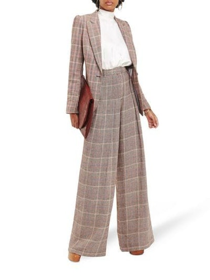 Zendaya Check Linen Blazer & Wide-Leg Trousers