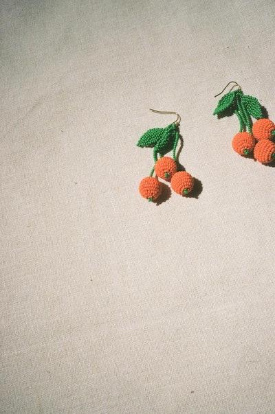 Tangerine Beaded Earrings