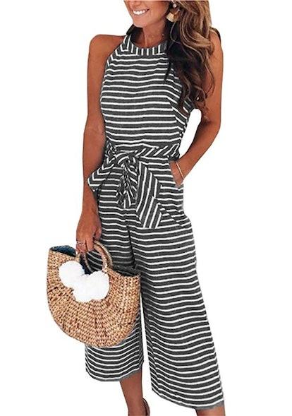 Pretty Garden 2019 Women's Striped Sleeveless Jumpsuit Romper with Pockets