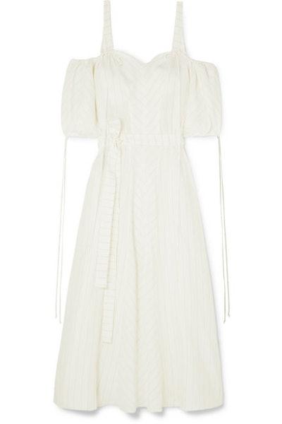 Loewe + Paula's Ibiza cold-shoulder striped linen-blend gown