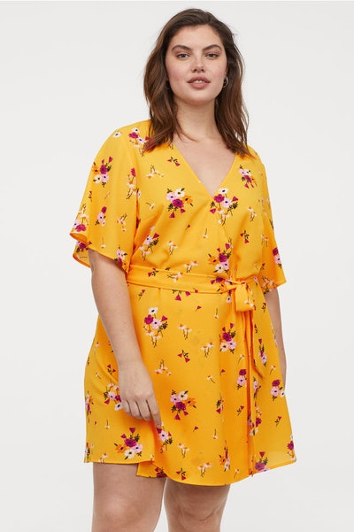 Creped Wrap-Front Dress