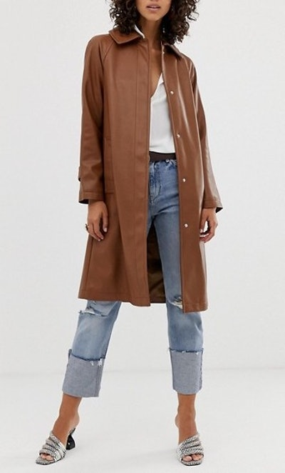 Leather Look Trench Coat