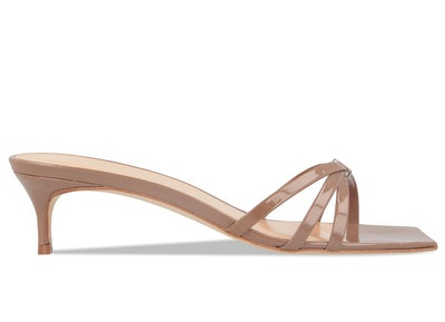 Libra Taupe Patent Leather Sandals