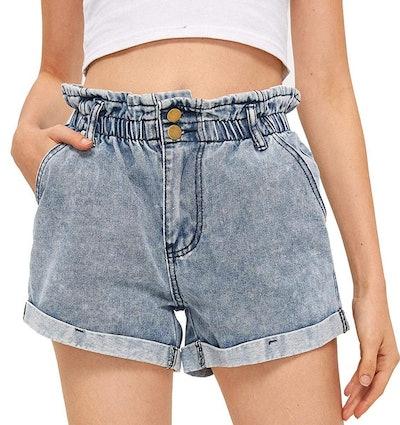 Milumia High-Waisted Hemming Jean Shorts