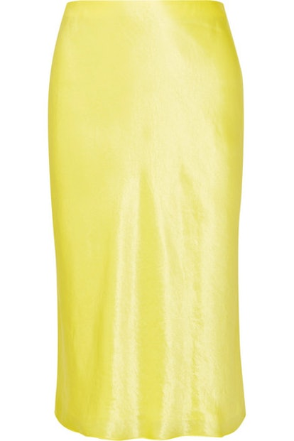 Vince Hammered-satin skirt