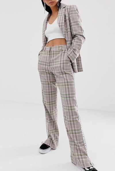 Collusion Double Breasted Check Blazer & Pants With Side Tape