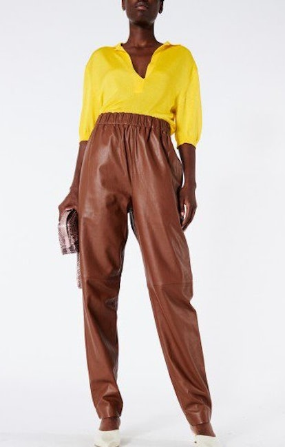 Tissue Leather Pull On Pants