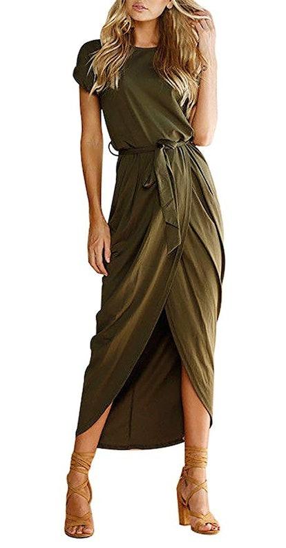Yidarton Women's Casual Short Sleeve Slit Maxi Dress