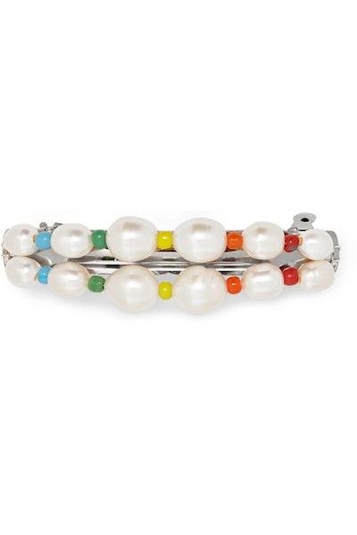éliou Elba silver-tone, pearl and bead hairclip