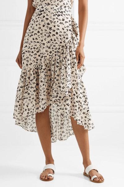 Gretchen Asymmetric Tiered Floral-Print Cotton And Silk-Blend Gauze Skirt