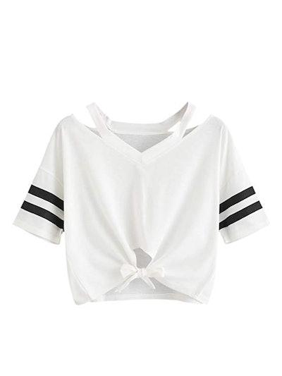SweatyRocks Women's Loose Short Sleeve Cropped T-Shirt