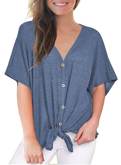 MIHOLL Women's V-Neck Button Down Tie Front Top