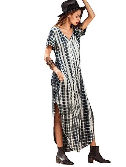 MAKEMECHIC Short Sleeve Tie Dye Maxi Dress