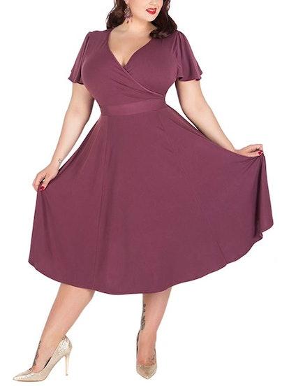 Nemidor Women's V-Neckline Stretchy Plus Size Bridesmaid Dress