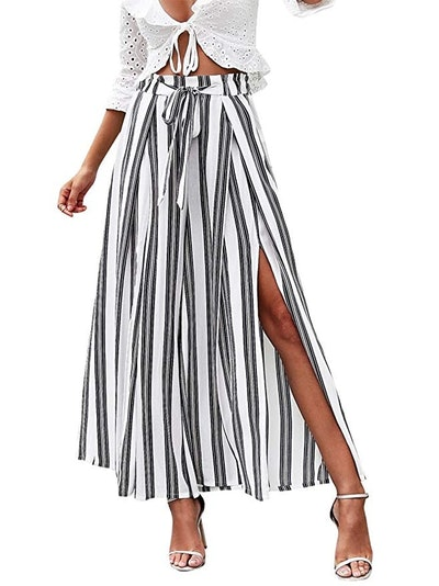 Simplee Women's Striped Split Flowy Wide Leg Pants