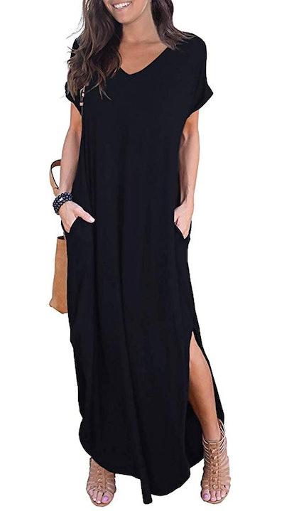GRECERELLE Women's Loose Pocket Long Dress