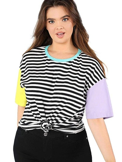 Romwe Women's Crewneck Striped Short Sleeve T-Shirt