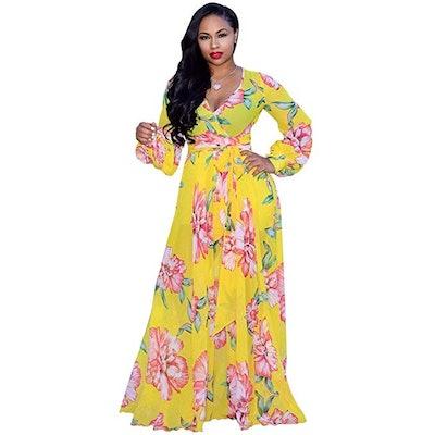 Nuofengkudu Chiffon V-Neck Printed Maxi Dress, $30,