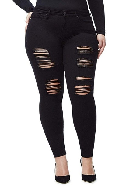 Jack David/GAZOZ Women's Plus Size Distressed Ripped Jeans