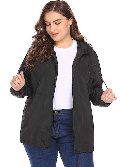 IN'VOLAND Women's Plus Size Rain Jacket Windbreaker