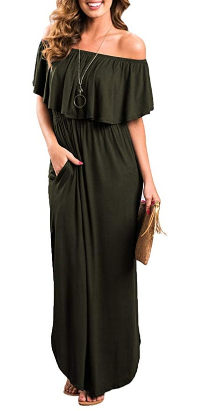Thanth Women's Off-the-Shoulder Ruffle Maxi Dress