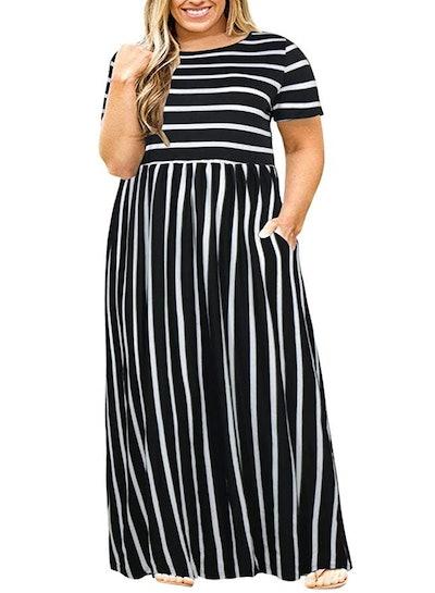 Nemidor Short Sleeve Plus Size Maxi Dress with Pockets