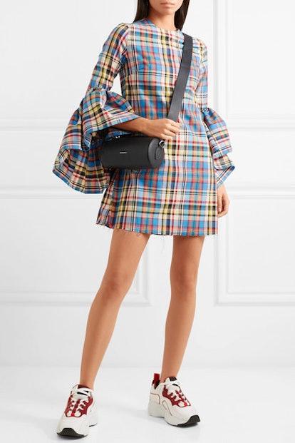 Janis Ruffled Frayed Plaid Poplin Mini Dress