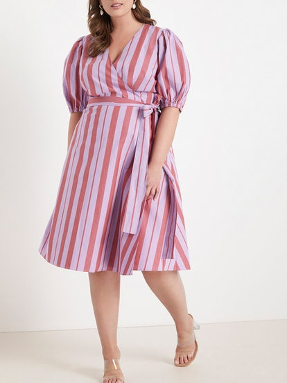 Opposing Stripes Wrap Dress