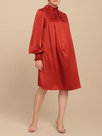 Charmeuse Ruffle Neck Mini Dress