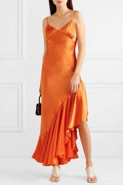 Allegra Asymmetric Ruffled Satin Dress