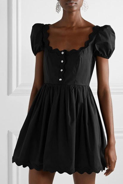 Scalloped Crystal-Embellished Cotton-Poplin Mini Dress