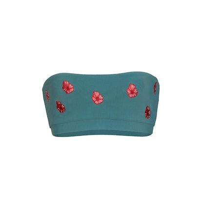 Floral Embroidered Bandeau Bikini Top