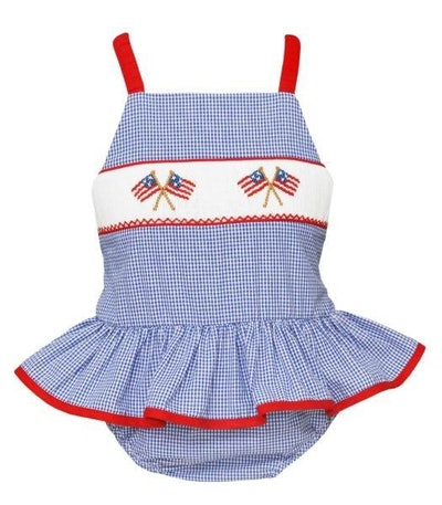 Smocked Patriotic Flags Ruffle Swimsuit