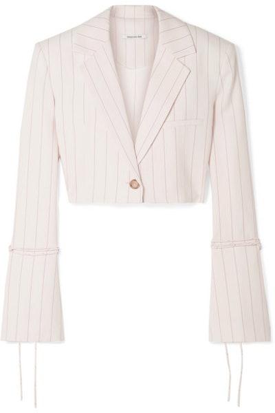 ORSEUND IRIS Box cropped pinstriped wool-blend blazer
