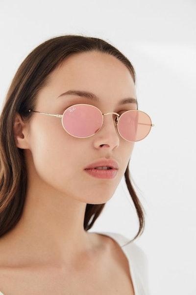 Oval Flat Lens Sunglasses in Copper