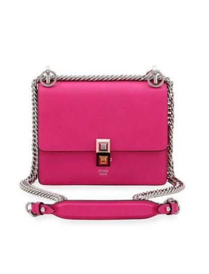 Kan I Mini Scallop Studded Shoulder Bag in Bright Pink