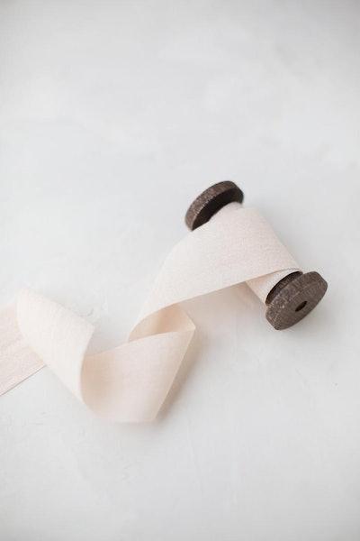 "Nude Champagne Rayon Faux Silk Ribbon • 1-1/2"""