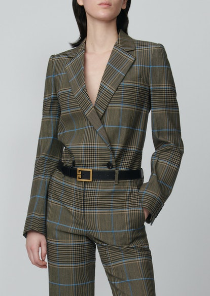 Checked Double-Breasted Wool-Blend Blazer