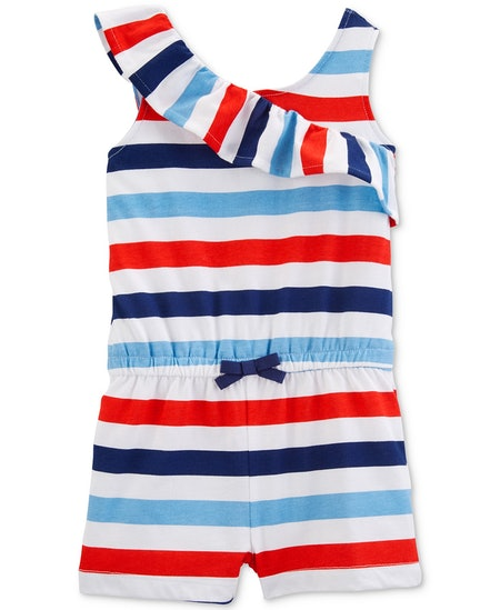 Toddler Girls Striped Cotton Romper